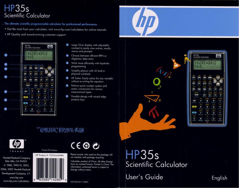 hp 35s hp 35s scientific calculator manual español HP 33s Scientific Programmable Calculator